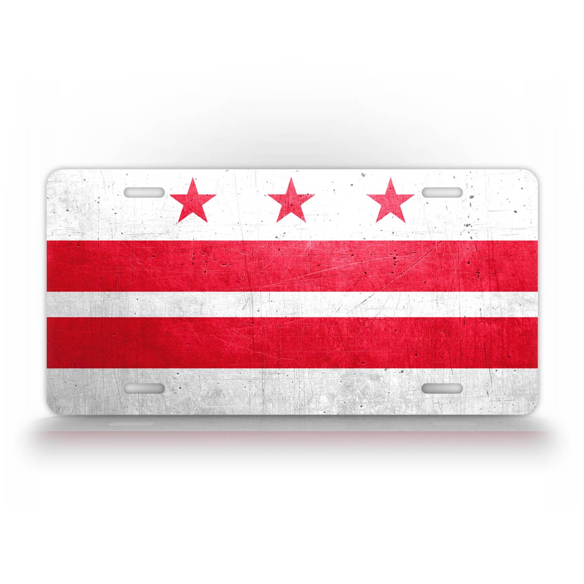 Washington D.C. District Of Columbia Flag Weathered Metal License Plate
