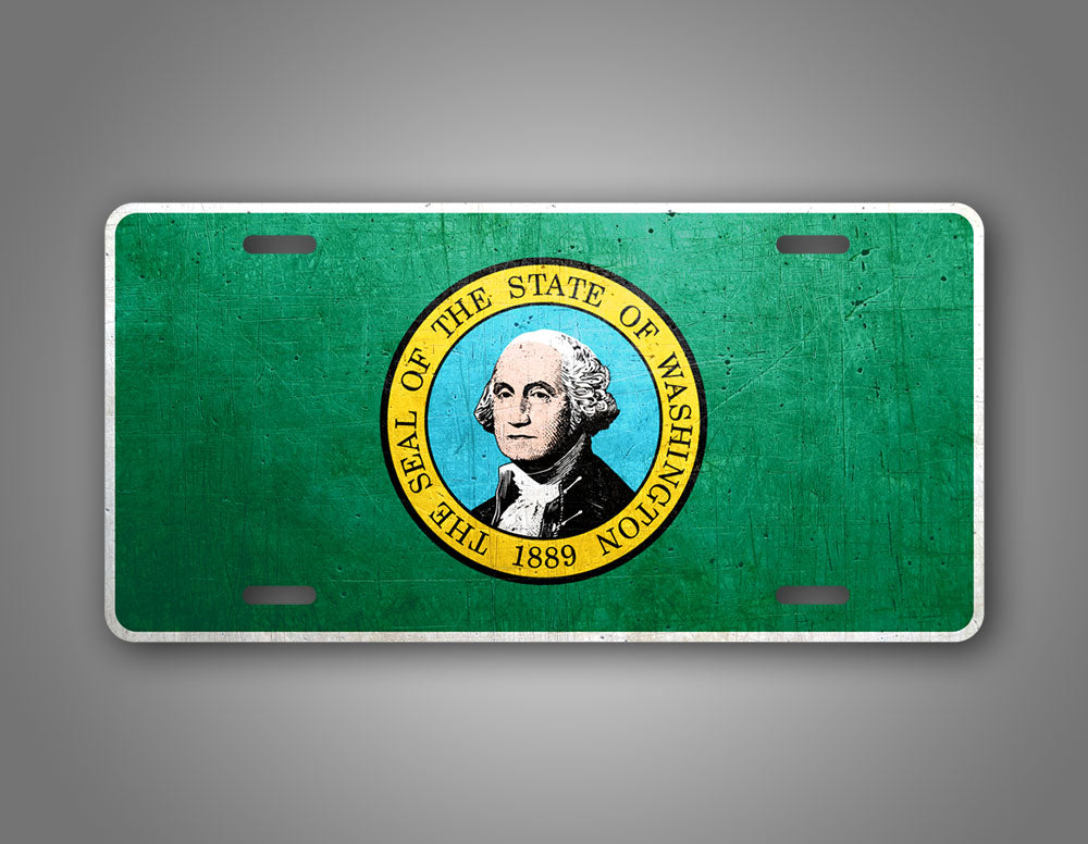 Weathered Metal Washington State Flag Auto Tag