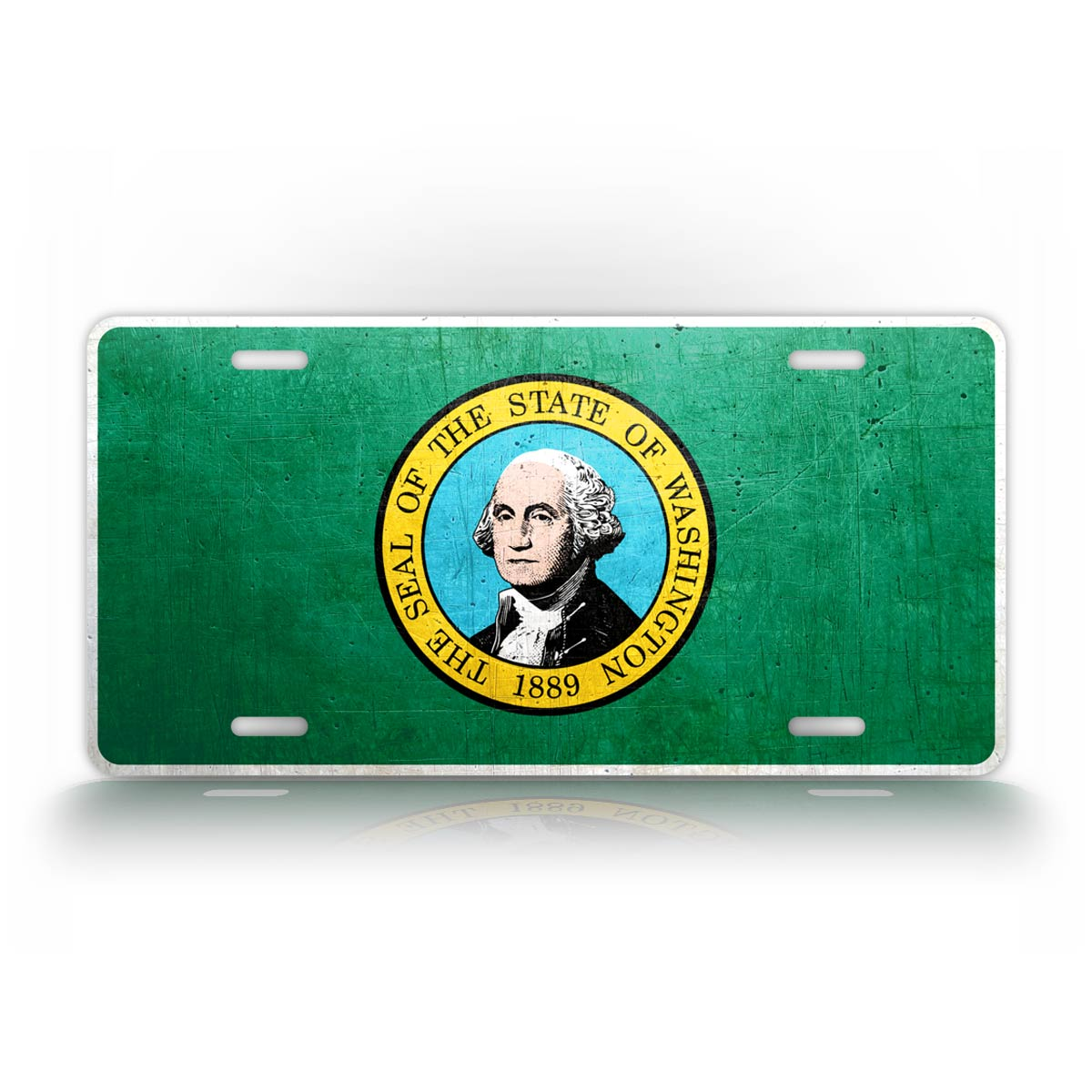 Washington State Flag Weathered Metal License Plate