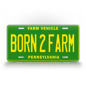 Custom State Born To Farm License Plate