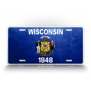 Weathered Metal Wisconsin State Flag Auto Tag