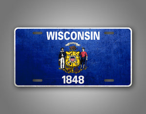 Wisconsin State Flag Weathered Metal License Plate