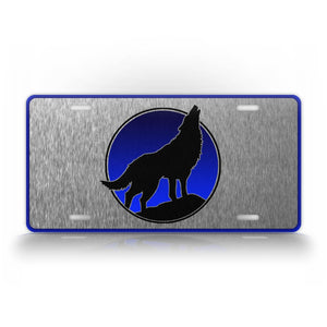 Howling Wolf Silhouette Silver License Plate