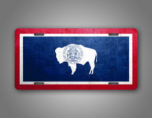 Weathered Metal Wyoming State Flag Auto Tag
