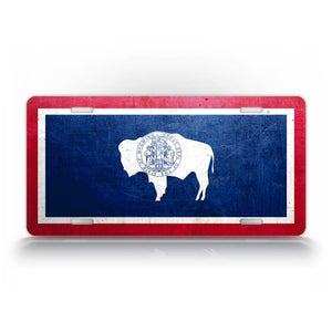 Wyoming State Flag Weathered Metal License Plate