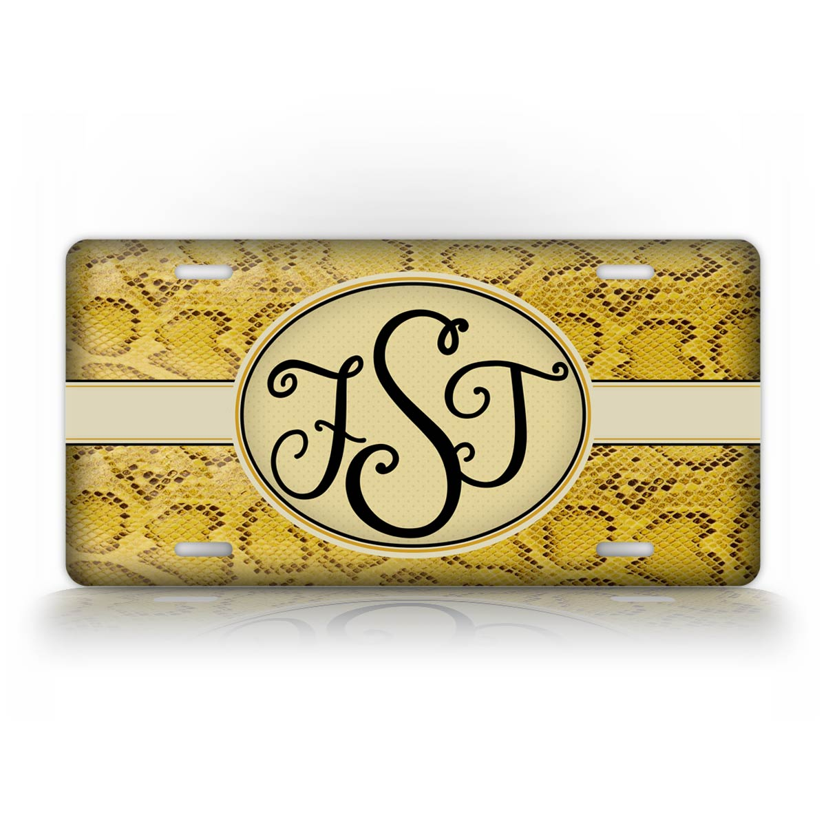 Personalized Yellow Snakeskin Monogram License Plate