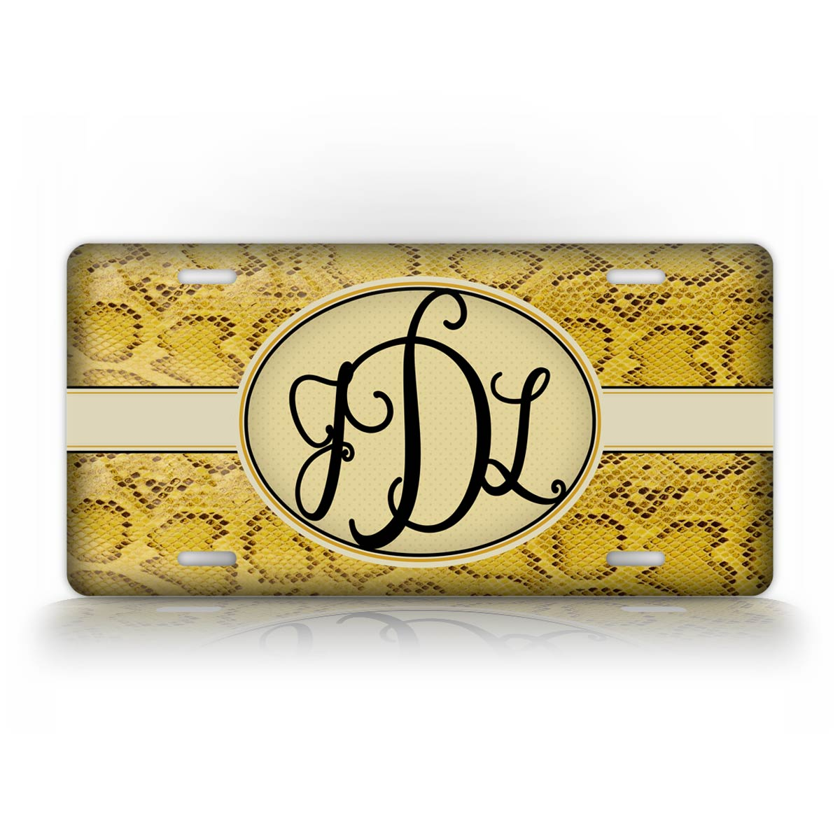Custom Text Yellow Snakeskin Monogram License Plate