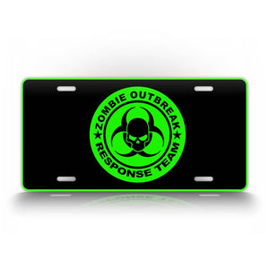 Neon Green Zombie Outbreak Response Team License Plate