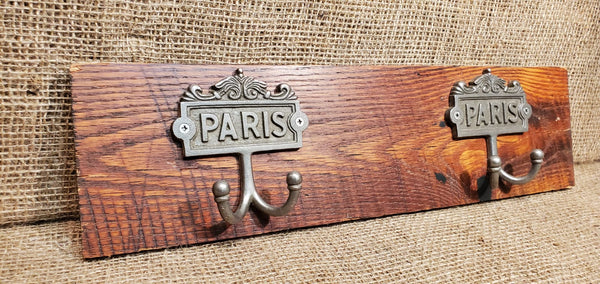 Wall Mounted Coat Rack with Paris Plaque Hooks