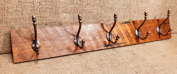 Wall Mounted Coat Rack with Victorian Acorn Copper Hooks