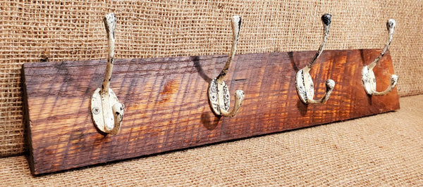 Wall Mounted Coat Rack with Victorian Patina Hooks