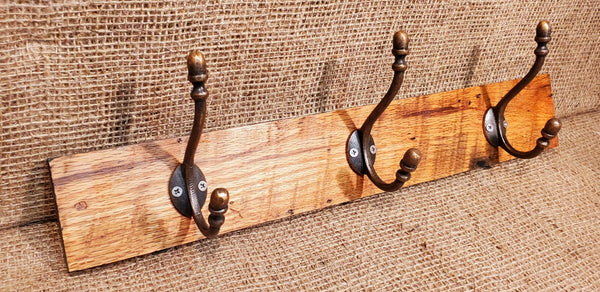 Wall Mounted Coat Rack with Victorian Acorn Copper Hooks (3)