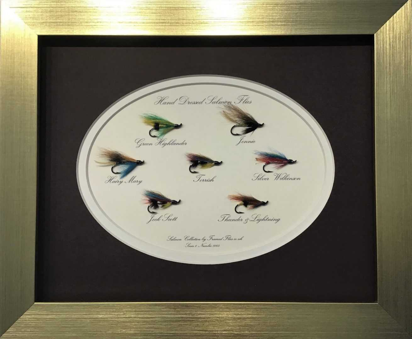 Salmon Fly Collection Framed Flies.co.uk Gold Brown