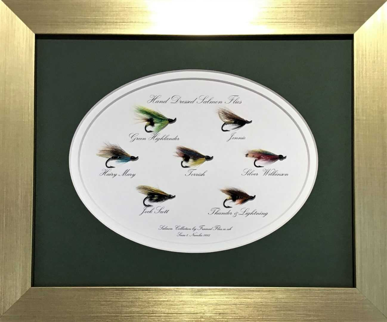 Salmon Fly Collection Framed Flies.co.uk Gold Green