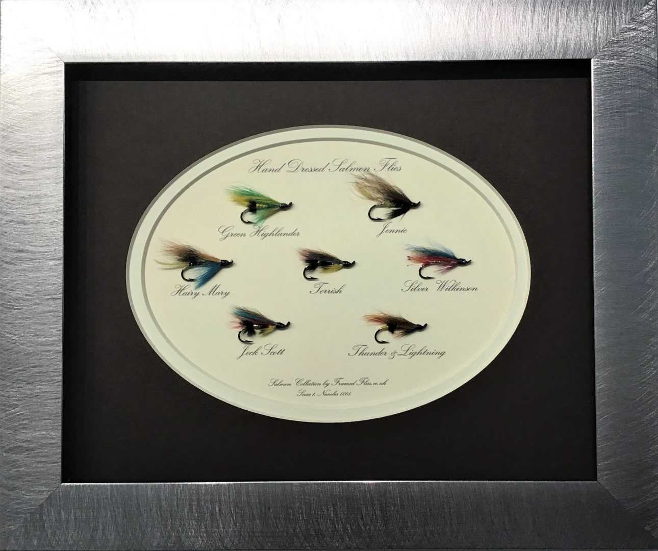 Salmon Fly Collection Framed Flies.co.uk Silver Brown