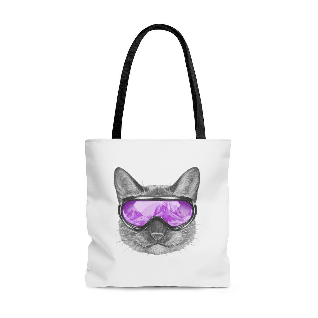 Cat with a Purple Ski Mask - Tote Bag Bags Large