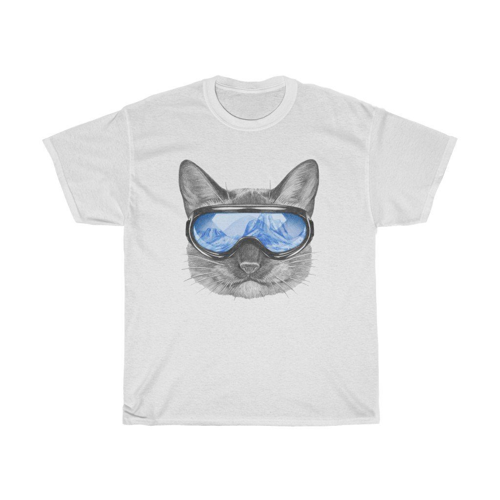 Cat with a Ski Mask - Blue T-Shirt White L