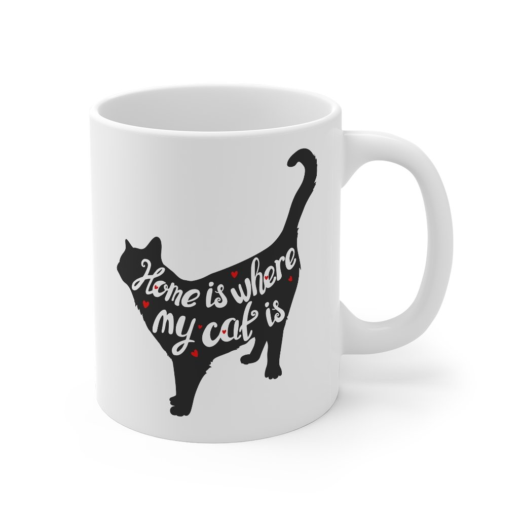 'Home is where my cat is' White Mug Mug 11oz