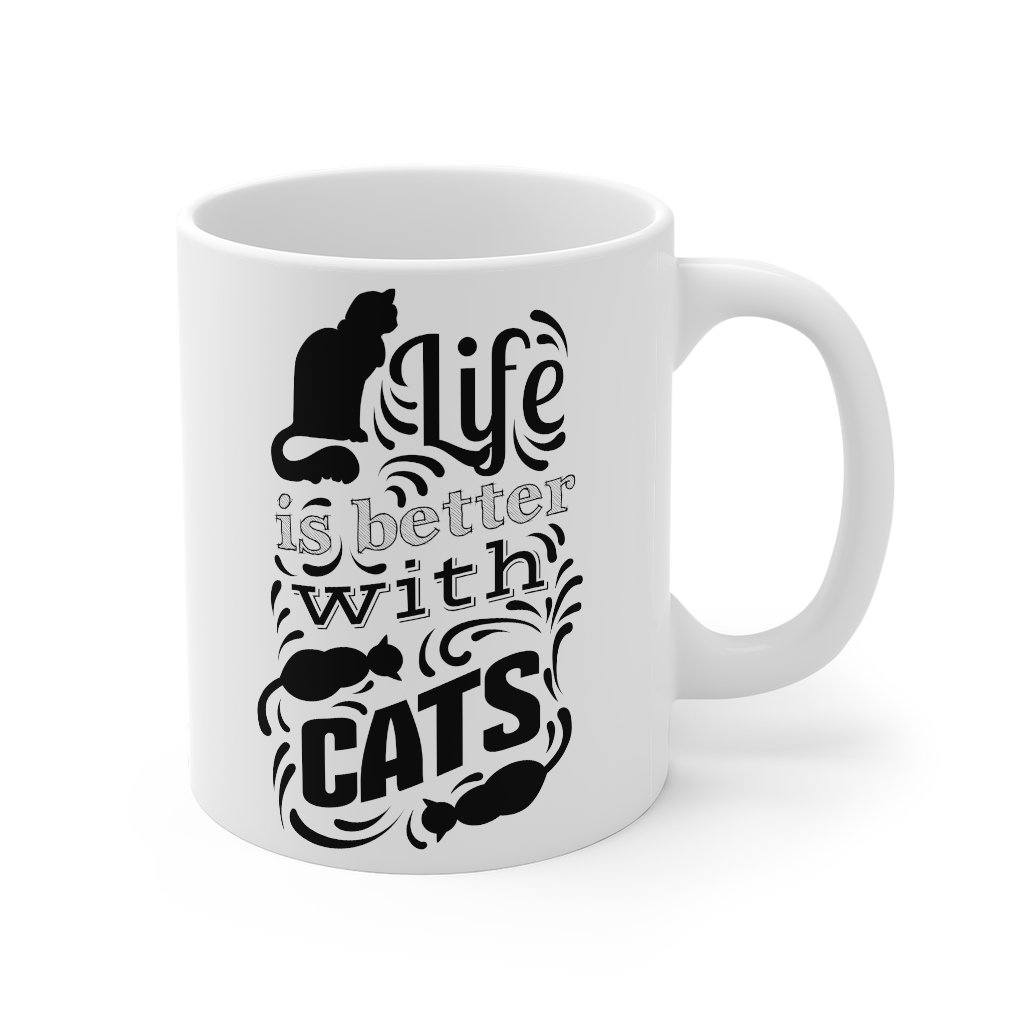 'Life is Better with Cats' White Mug Mug 11oz