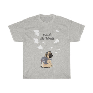 "Travel Pug ""Travel the World!"" Tee T-Shirt Ash S"
