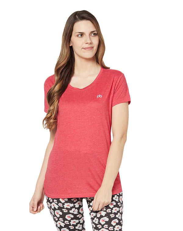 Melange Red Short sleeves cotton T-shirt - long