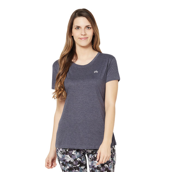 Short sleeves lounge T -shirt in Melange Navy color