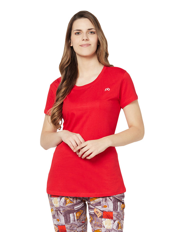 Paris Beauty Solid color cotton lounge top - Red