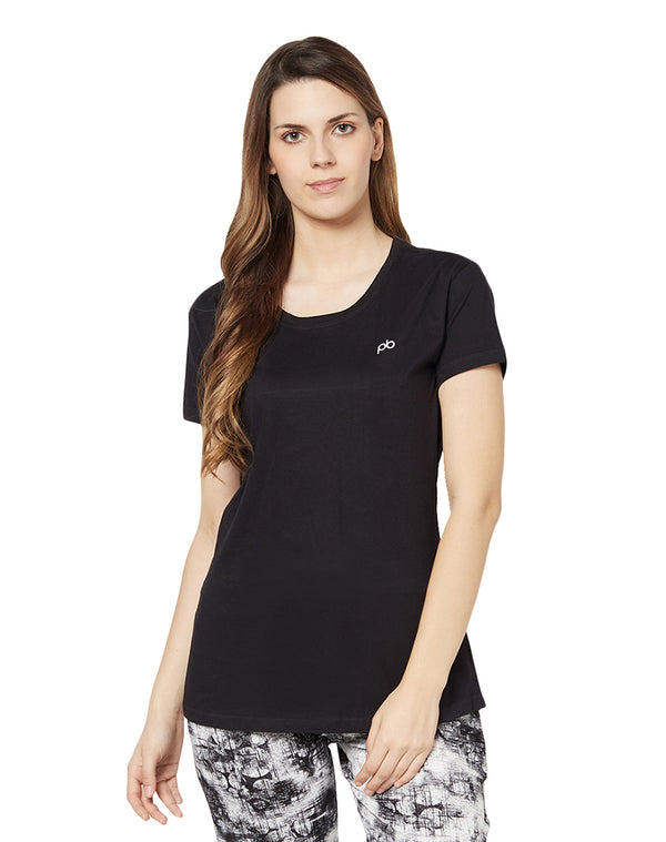 Round Neck Half Sleeve Plain Micro Modal T-shirt- Black (long)