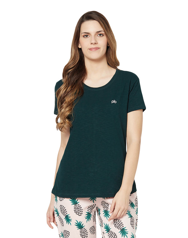 Half Sleeve Slub Lycra Round Neck Solid T-shirt- Bottle Green
