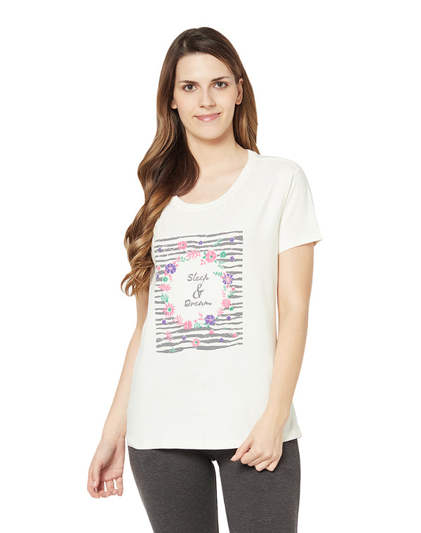 Round Neck Printed Cotton Lycra Lovely T-shirt- White (Short)