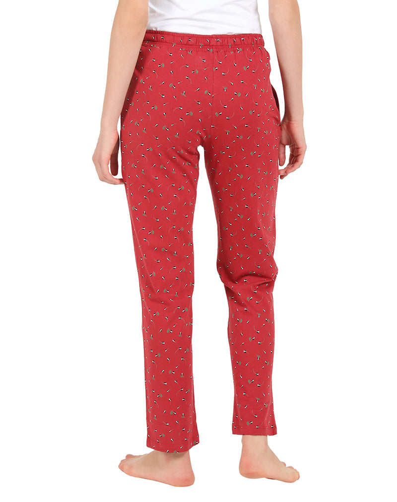 Maroon Color Pretty Print Pyjamas Sleepwear