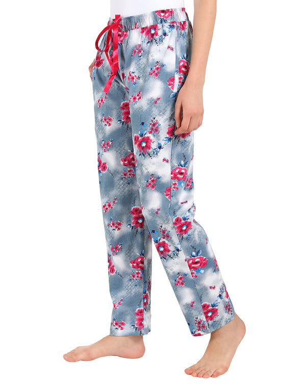 Super Comfortable Floral Print Pyjamas in Grey and Pink Color