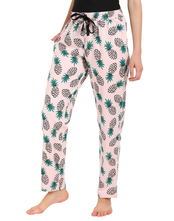 Pineapple Print Super Cool Comfy Pyjamas in Peach & Green Color