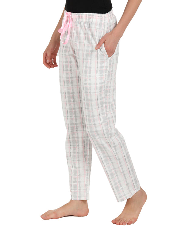Soft Cotton Knit Pyjama in Light Pink and Grey Color