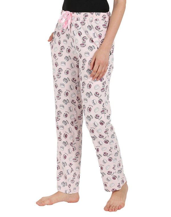 Donut Print Soft Cotton Pyjama in Pastel Pink Color