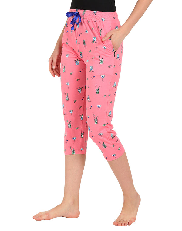 Soft Fabric Printed Pink Cotton Capris