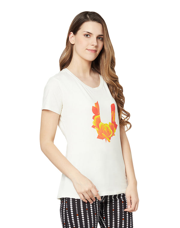 Half sleeve cotton lycra printed T-shirt - Ivory