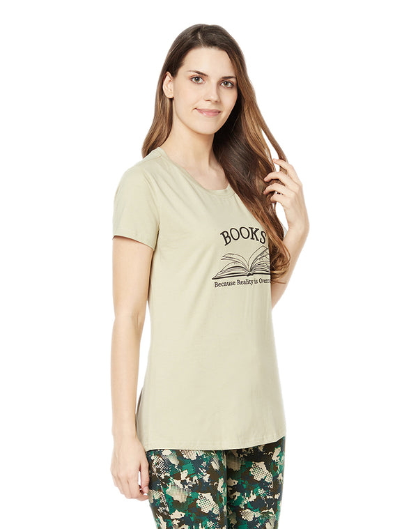 Quotation T-shirt in Round Neck Cotton Lycra Half sleeve- Khaki (Long)