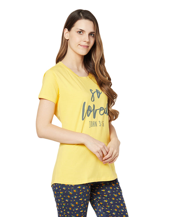 Half Sleeve Round Neck Cotton Lycra Quotation T-shirt- Yellow (Short)