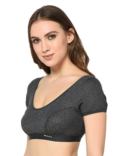 Women charcoal black round neck thermal half sleeve blouse