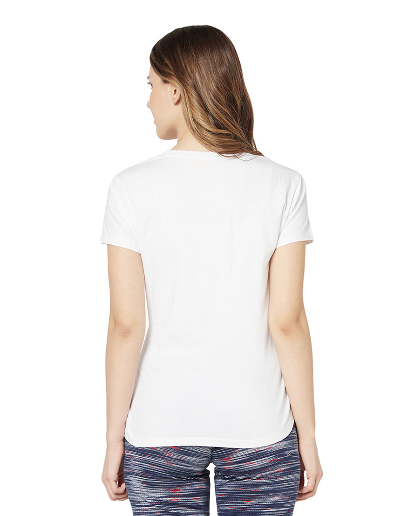 Round Neck Half Sleeve 30's Rich Cotton Printed T-shirt- White