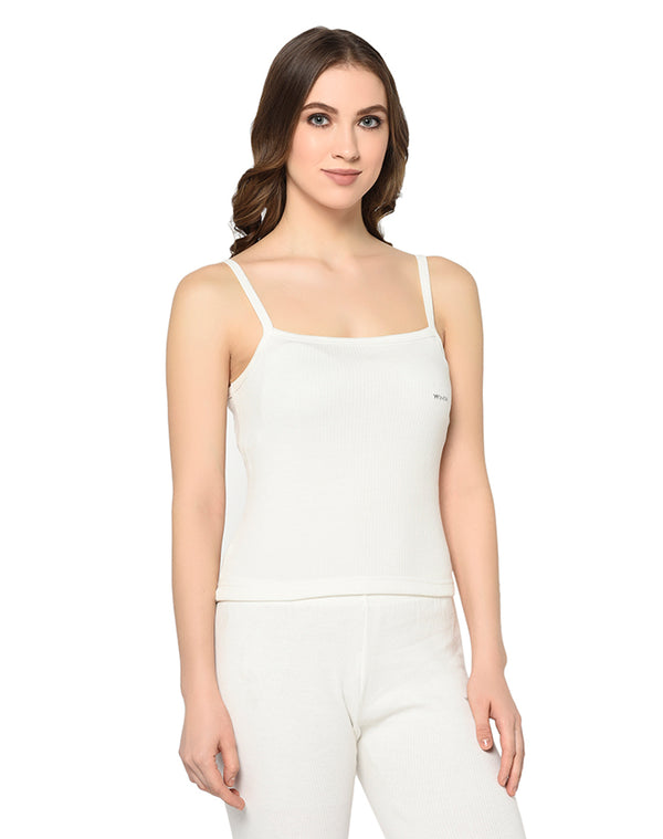 Women pearl white round neck sleeveless camisole
