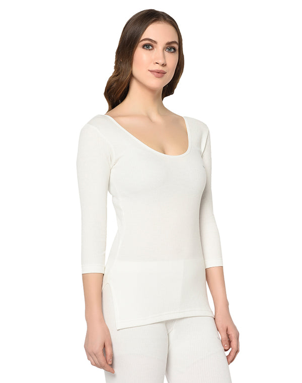 Women pearl white round neck thermal top with ¾ sleeves