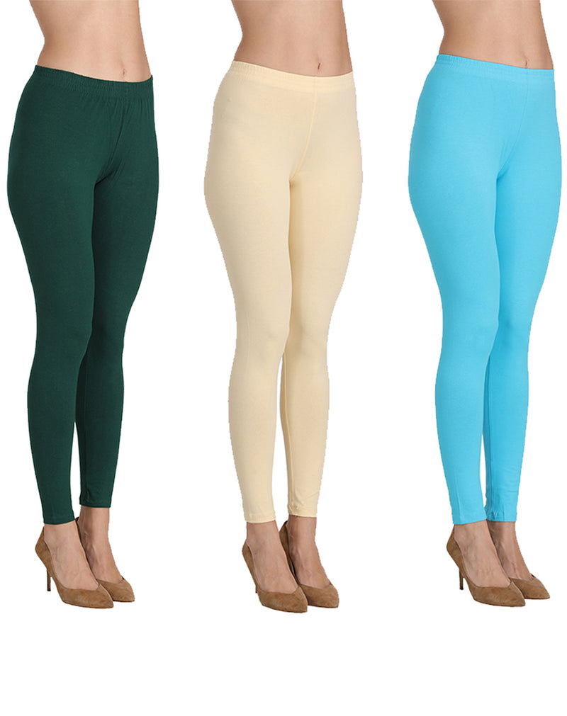 Ankle Length Leggings Combo of 3(Bottle Green, Butter, Ocean Blue)