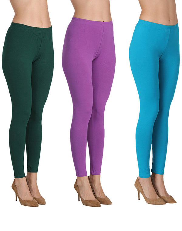 Ankle Length Leggings Combo of 3(Bottle Green, Lavender, Turkish Blue)