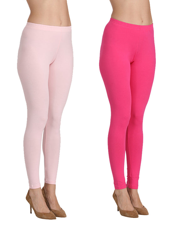 Ankle Length Leggings Combo of 2(Pink , Fuchsia)