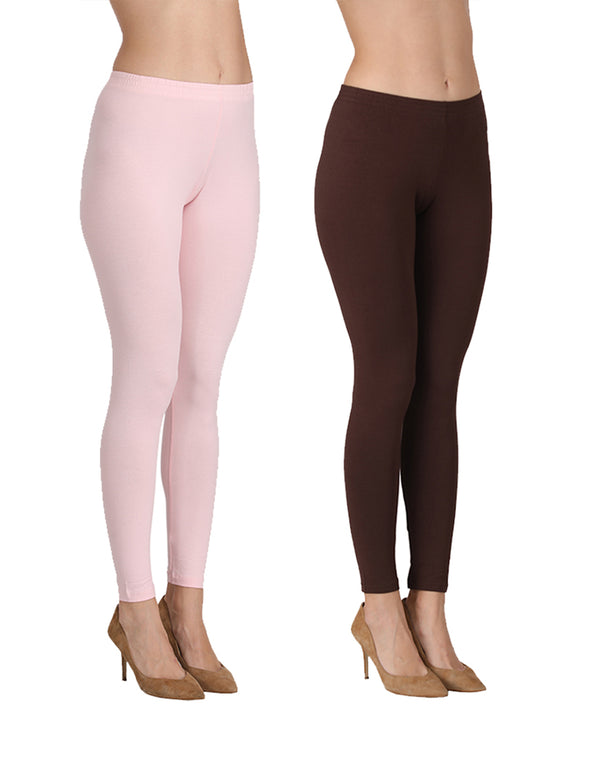 Ankle Length Leggings Combo of 2(Pink, Coffee)