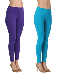 Ankle Length Leggings Combo of 2(Purple & Turkish Blue)