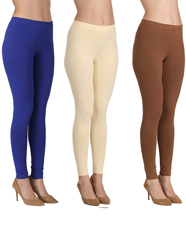 Ankle Length Leggings Combo of 3(Royal Blue, Butter, Cadbury)