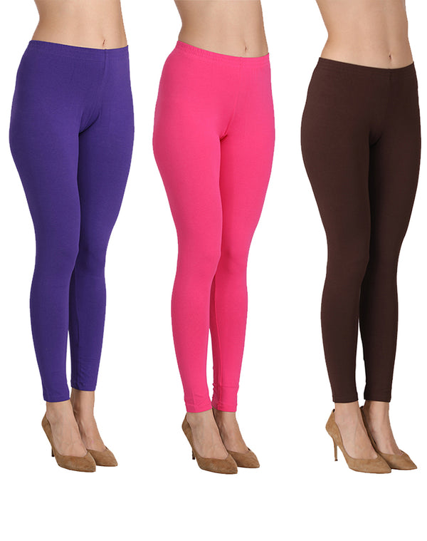 Ankle Length Leggings Combo of 3(Purple, Fuchsia, Coffee)
